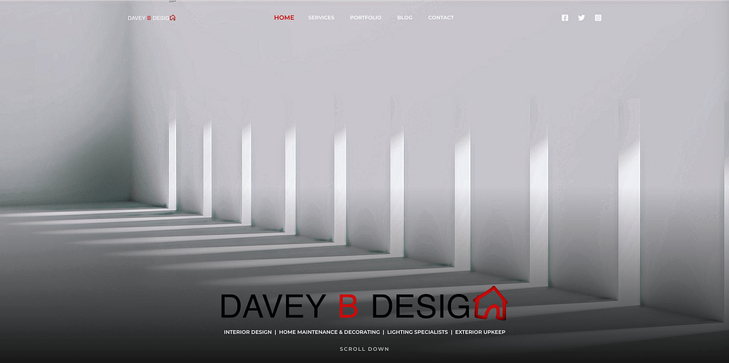 Davey B Design Front Page